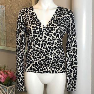 Loft Leopard Print Button Down Cardigan Sz M